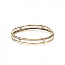 Two-tone floating CZ bangle bracelet