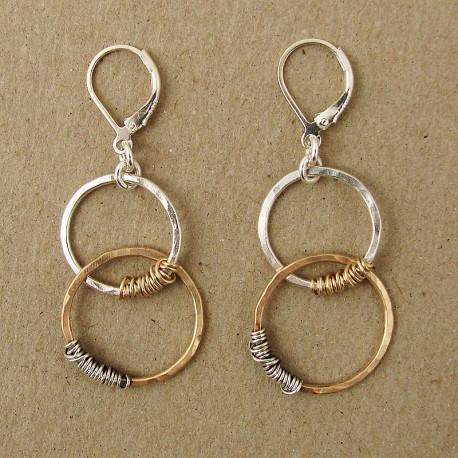 Two-tone link earrings