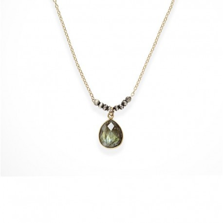 Two tone faceted Labradorite drop necklace