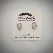 Opal and Sterling Silver Post Earrings