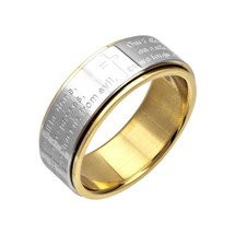 Stainless Steel Lord's Prayer Spinner Ring 3172