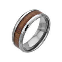 Men's Koa Wood and Stainless Steel Ring 3194