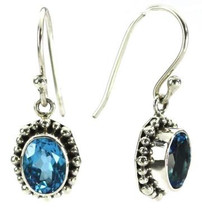 Blue Topaz Earrings- 3185