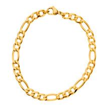 Stainless Steel Gold Figaro Bracelet 3204