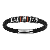 Leather and Stainless Steel Bracelet 3209