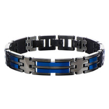 Black and Blue Stainless Steel Bracelet 3210