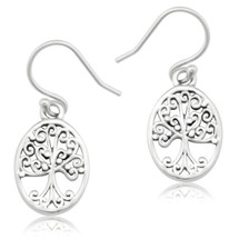 Oval Tree of Life Earrings-Small 3217