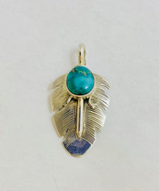 Royston Turquoise Feather Pendant-3244