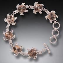 Fossilized Ivory Sea Turtle Link Bracelet 3259