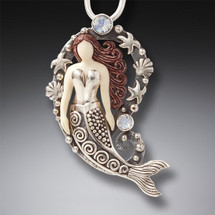 Sterling Silver Fossilized Ivory Mermaid Pendant 3261
