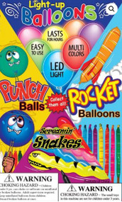 """500 Pieces - Balloon Mix in 1.1"""" Capsules Includes- Light-UP, Rocket, Snakes, Punch Balloons"""