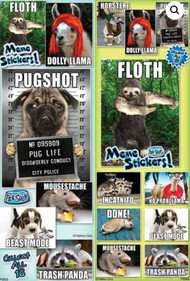 Hilarious Pet Meme Stickers in sleeves ready for vending or party