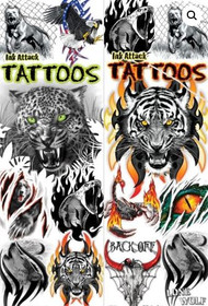 Animal Ink Attack Tattoos Life-like - 300 tattoos in vending sleeves