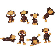 "Monkey Mini Figurines Hilarious Approx 1"" tall 100 per Bag"