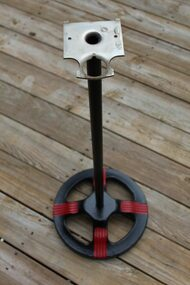 Antique Ford Wagon Wheel Spoked Pipe Stand Black with Red Racing Stripes