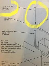 "Tie Rod Corner Post Screw Rods for 2"" Capsule Vending machines Ashland Northwestern A&A"