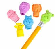 Zoo Animals Pencil Top Erasers, 144 Pieces, 1-inch