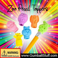 Zoo Animals Pencil Top Erasers In Capsules For Vending, 250 Pieces, 1.1-inch