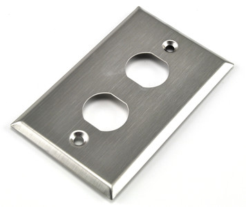 2 hole, 2 gang stainless steel industrial wall plate