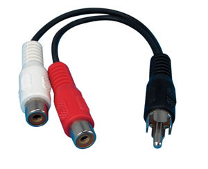 "rca male to 2 rca female 6"" adapter"