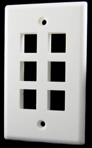 6 Port White Wall Plate