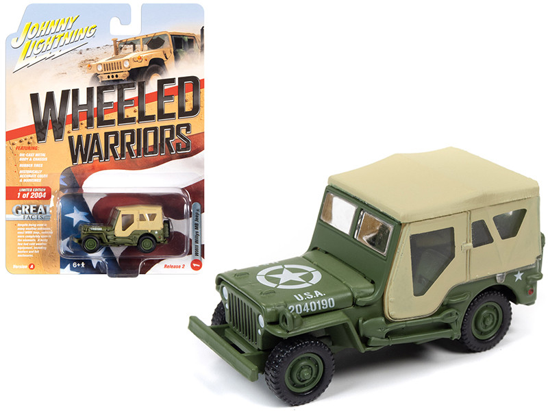 Willys MB Jeep Olive Drab Tan Top USA World War II Wheeled Warriors Series 2 Limited Edition 2004 pieces Worldwide 1/64 Diecast Model Car Johnny Lightning JLML005 JLCP7267 A