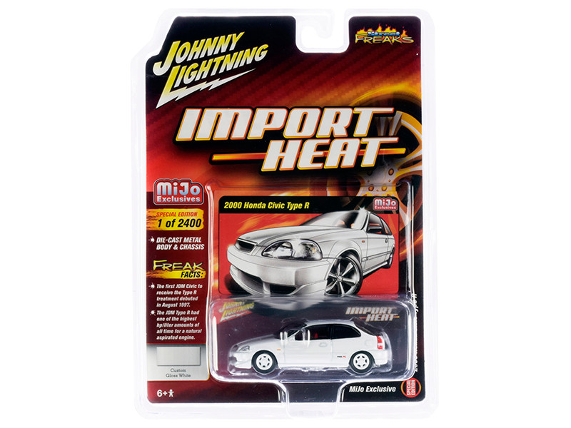2000 Honda Civic Type R White White Wheels Red Interior Import Heat Street Freaks Series Limited Edition 2400 pieces Worldwide 1/64 Diecast Model Car Johnny Lightning JLCP7310