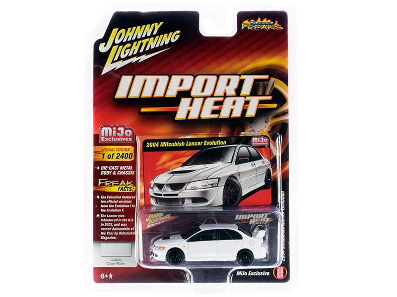 2004 Mitsubishi Lancer Evolution White Black Wheels Import Heat Street Freaks Series Limited Edition 2400 pieces Worldwide 1/64 Diecast Model Car Johnny Lightning JLCP7311
