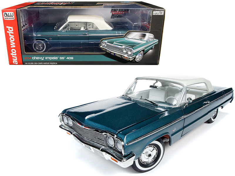 1964 Chevrolet Impala SS 409 Lagoon Aqua Green Metallic Gloss Ermine White Top White Interior 1/18 Diecast Model Car Autoworld AMM1219