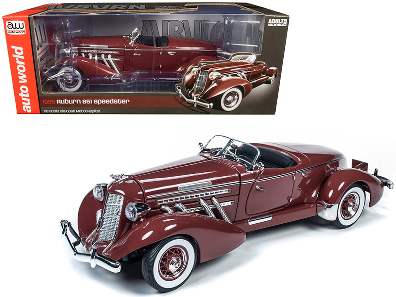 1935 Auburn 851 Speedster Plum Burgundy 1/18 Diecast Model Car Autoworld AW262