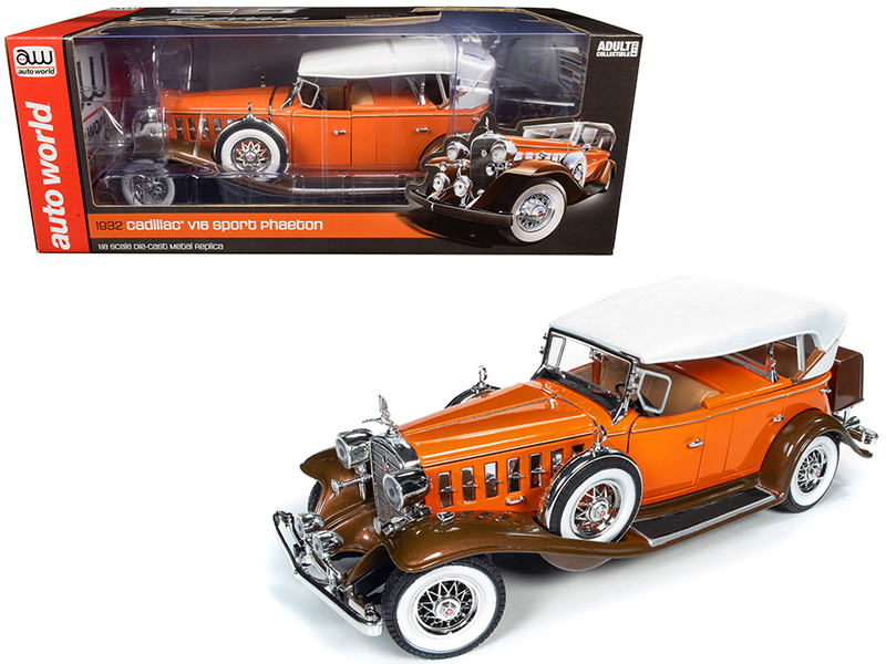 1932 Cadillac V16 Sports Phaeton Convertible Orange White Top 1/18 Diecast Model Car Autoworld AW264