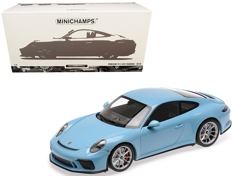 2018 Porsche 911 GT3 Touring Light Blue Limited Edition 300 pieces Worldwide 1/18 Diecast Model Car Minichamps 110067420