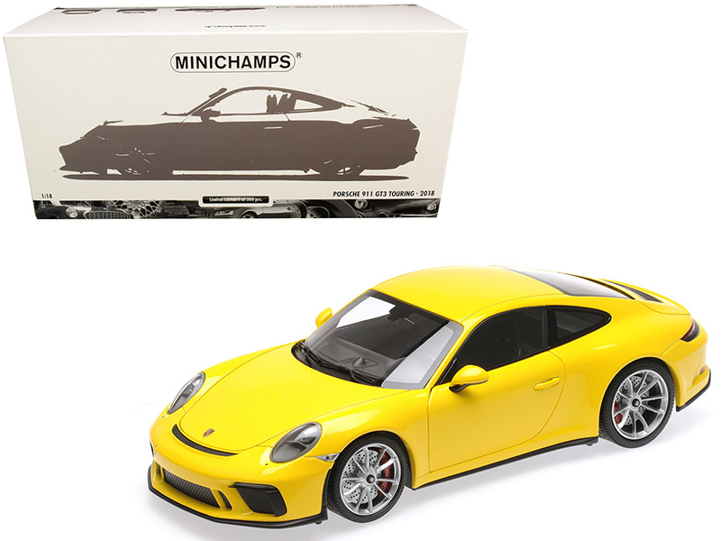 2018 Porsche 911 GT3 Touring Yellow Limited Edition 300 pieces Worldwide 1/18 Diecast Model Car Minichamps 110067422