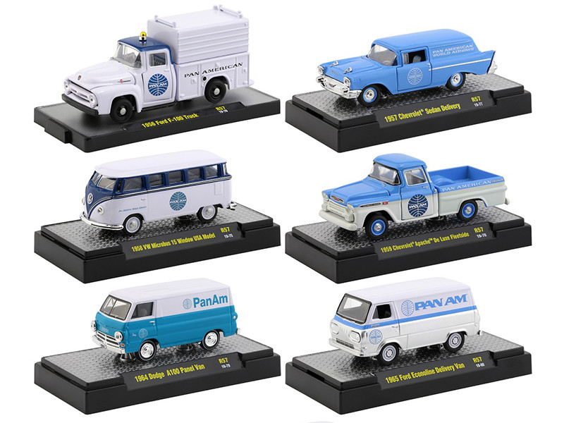 Auto Trucks Release 57 Set of 6 pieces Pan American World Airways Pan Am DISPLAY CASES 1/64 Diecast Model Cars M2 Machines 32500-57