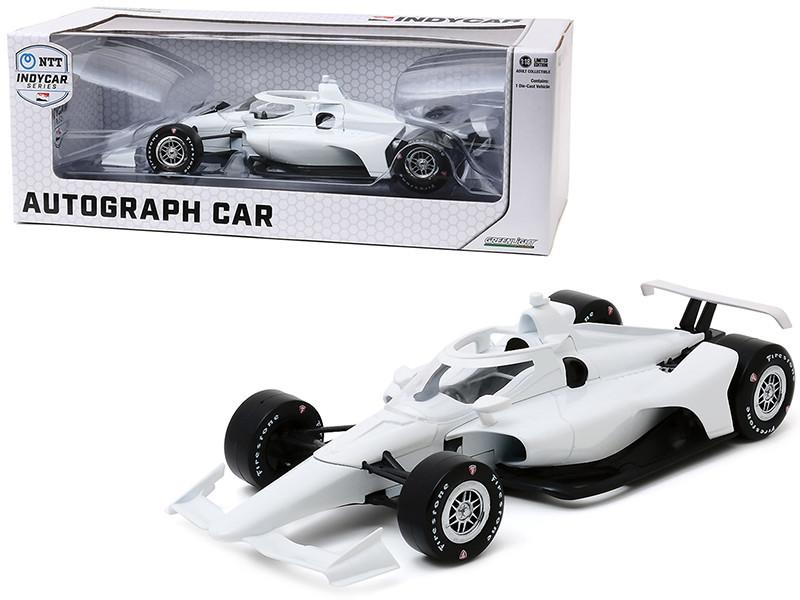 Autograph IndyCar Plain White Chrome Wheels NTT IndyCar Series 1/18 Diecast Model Car Greenlight 11075
