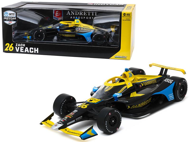 Dallara Indy Car #26 Zach Veach Gainbridge Andretti Autosport NTT IndyCar Series 2020 1/18 Diecast Model Car Greenlight 11076