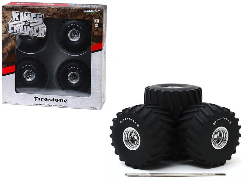 66-Inch Monster Truck Firestone Wheels Tires 6 piece Set Kings of Crunch 1/18 Greenlight 13558