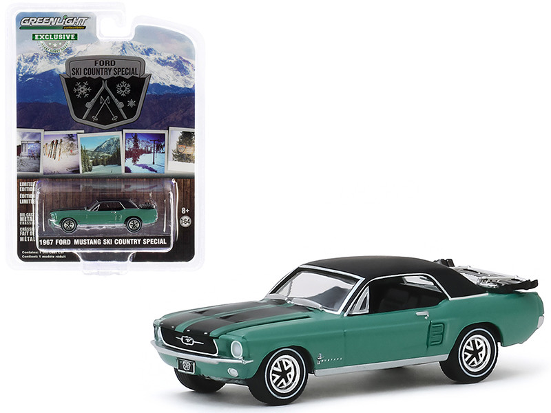 1967 Ford Mustang Coupe Loveland Green Metallic Black Stripes Black Top a Pair Skis Ski Country Special Hobby Exclusive 1/64 Diecast Model Car Greenlight 30113