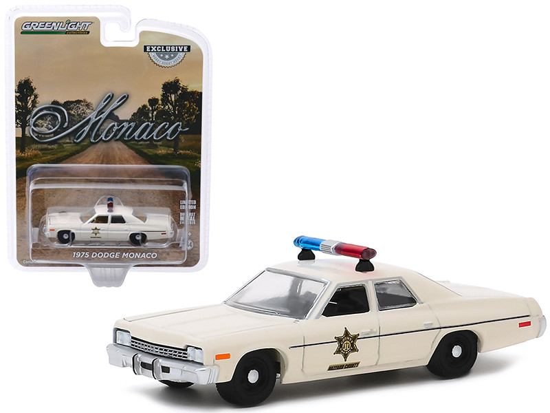 1975 Dodge Monaco Cream Hazzard County Sheriff Hobby Exclusive 1/64 Diecast Model Car Greenlight 30140
