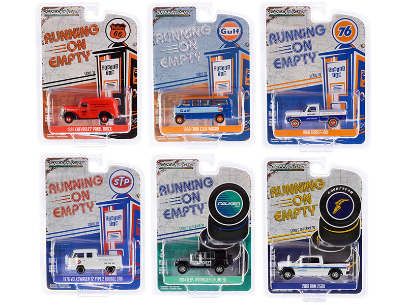 Running on Empty Series 10 6 piece Set 1/64 Diecast Model Cars Greenlight 41100