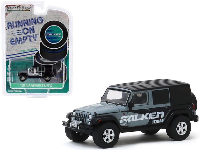 2014 Jeep Wrangler Unlimited Gray Black Falken Tires Running on Empty Series 10 1/64 Diecast Model Car Greenlight 41100 E