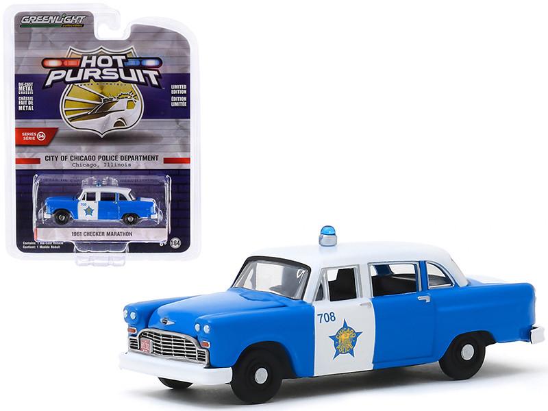 1961 Checker Marathon Blue White City of Chicago Police Department Chicago Illinois Hot Pursuit Series 34 1/64 Diecast Model Car Greenlight 42910 B