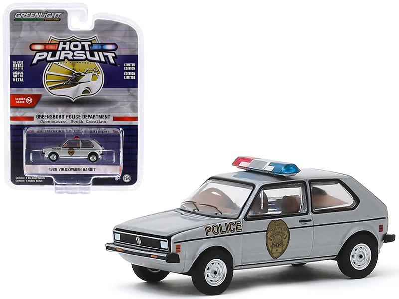 1980 Volkswagen Rabbit Silver Metallic Greensboro Police Department Greensboro North Carolina Hot Pursuit Series 34 1/64 Diecast Model Car Greenlight 42910 D