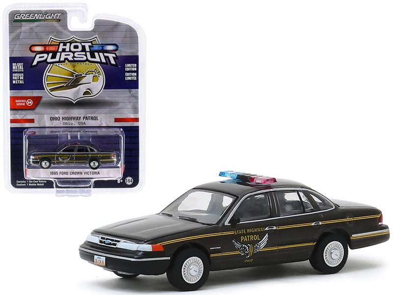 1995 Ford Crown Victoria Police Interceptor Brown Metallic Ohio Highway Patrol Ohio USA Hot Pursuit Series 34 1/64 Diecast Model Car Greenlight 42910 E