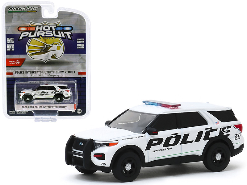2020 Ford Police Interceptor Utility Show Vehicle White Ford Motor Company Hot Pursuit Series 34 1/64 Diecast Model Car Greenlight 42910 F