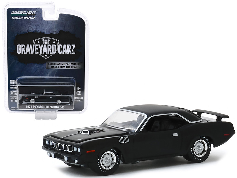 1971 Plymouth Barracuda 340 Black Graveyard Carz 2012 TV Series Season 2 Phantasm 'Cuda Hollywood Series Release 27 1/64 Diecast Model Car Greenlight 44870 F