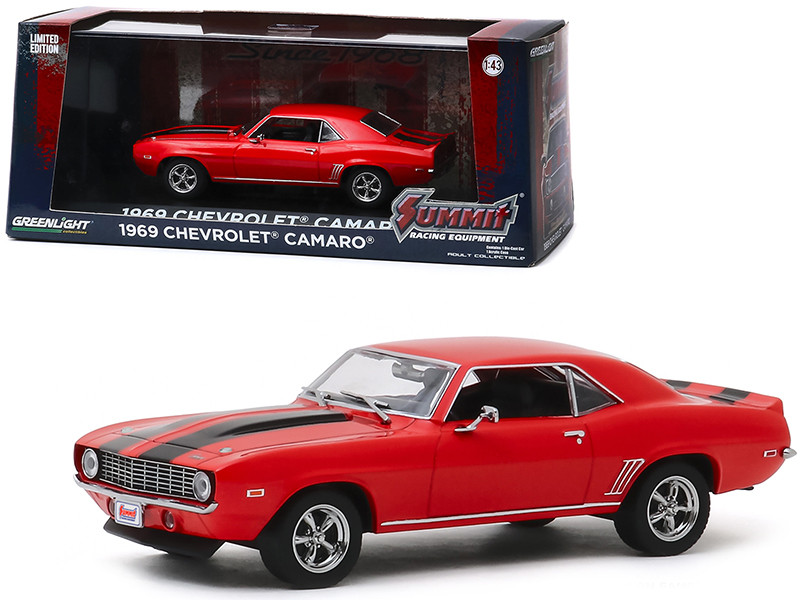 1969 Chevrolet Camaro Red Black Stripes Summit Racing Equipment Since 1968 1/43 Diecast Model Car Greenlight 86342