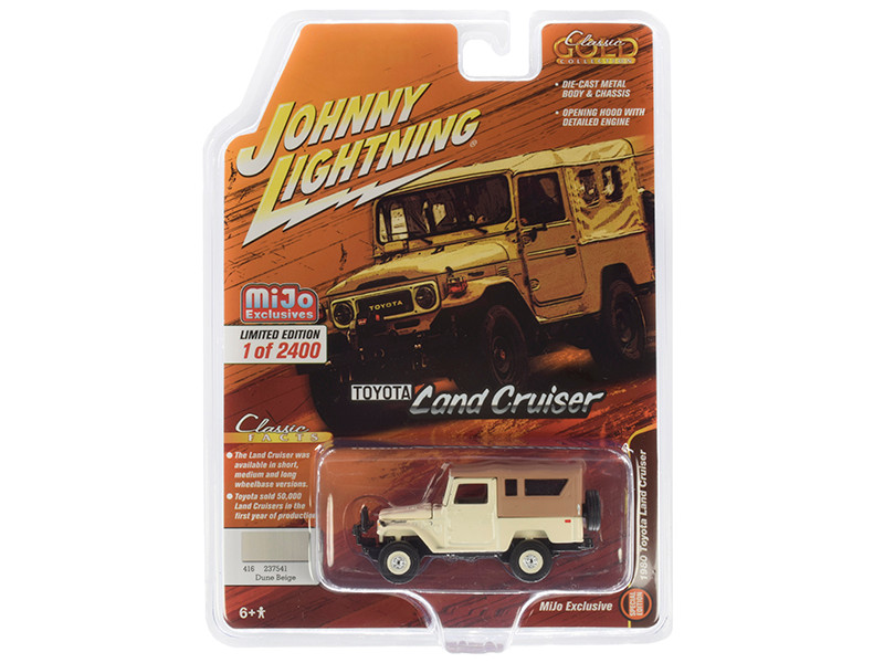1980 Toyota Land Cruiser Dune Beige Brown Top Limited Edition 2400 pieces Worldwide 1/64 Diecast Model Car Johnny Lightning JLCP7316