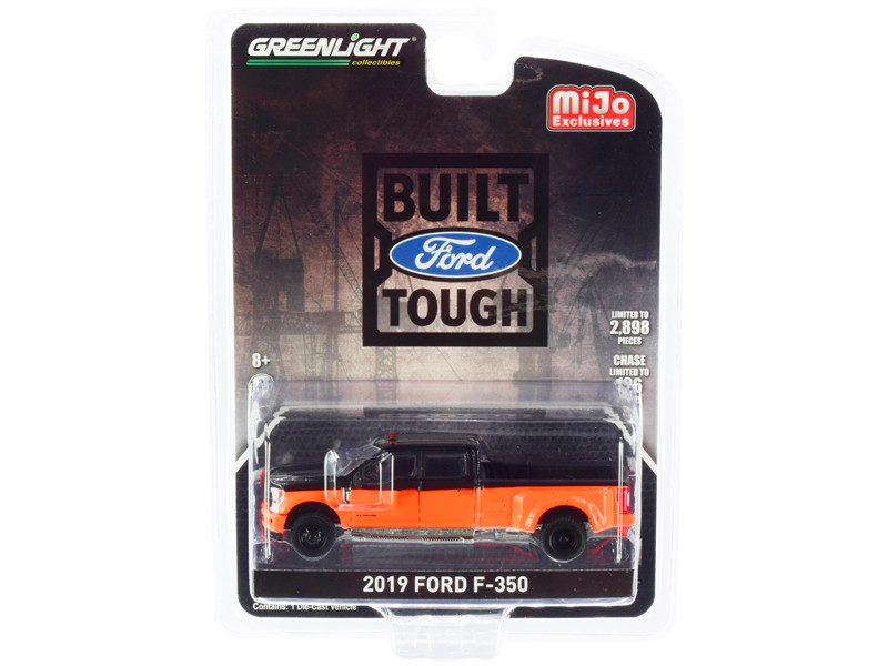 2019 Ford F-350 Super Duty Pickup Truck Orange Black Limited Edition 2898 pieces Worldwide 1/64 Diecast Model Car Greenlight 51318
