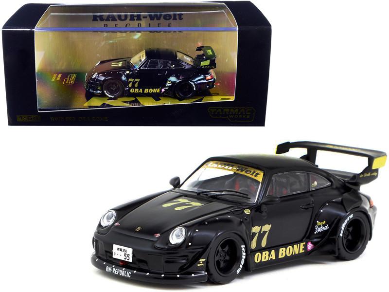Porsche RWB 993 #77 Oba Bone Black RAUH-Welt BEGRIFF 1/64 Diecast Model Car Tarmac Works T64-017-OB